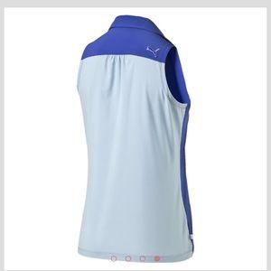 Puma Tops - Puma Woven Block Sleeveless Golf Polo Shirt Blue L